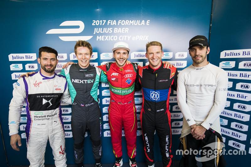 Jose Maria Lopez, DS Virgin Racing; Oliver Turvey, NEXTEV TCR Formula E Team; Daniel Abt, ABT Schaeffler Audi Sport; Maro Engel, Venturi; Jean-Eric Vergne, Techeetah