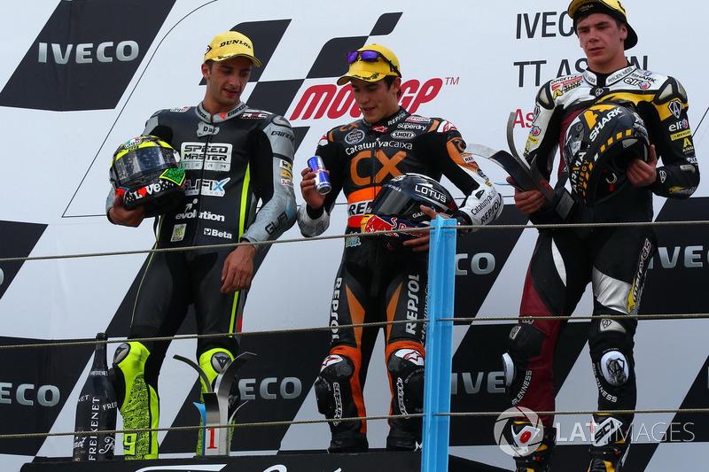 Podio: 1º Marc Márquez, 2º Andrea Iannone, 3º Scott Redding