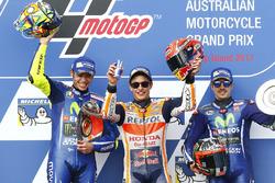 Podium: race winner Marc Marquez, Repsol Honda Team, second place Valentin Rossi, Yamah Factory Racing, third place Maverick Viñales, Yamaha Factory Racing