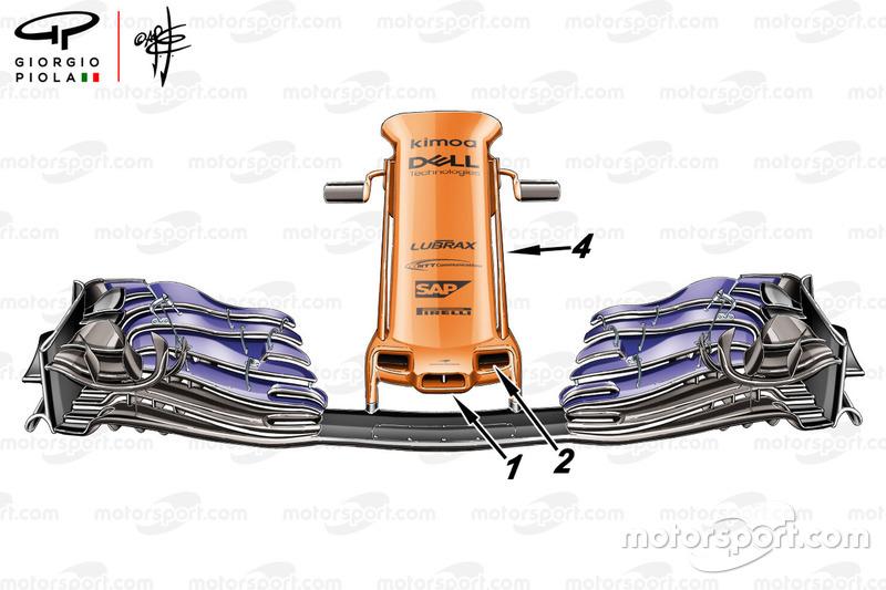 Aileron avant de la McLaren MCL33, GP d'Espagne