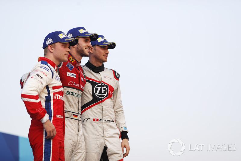 Podium: race winner Daniel Abt, Audi Sport ABT Schaeffler, second place Felix Rosenqvist, Mahindra Racing, third place Edoardo Mortara, Venturi Formula E