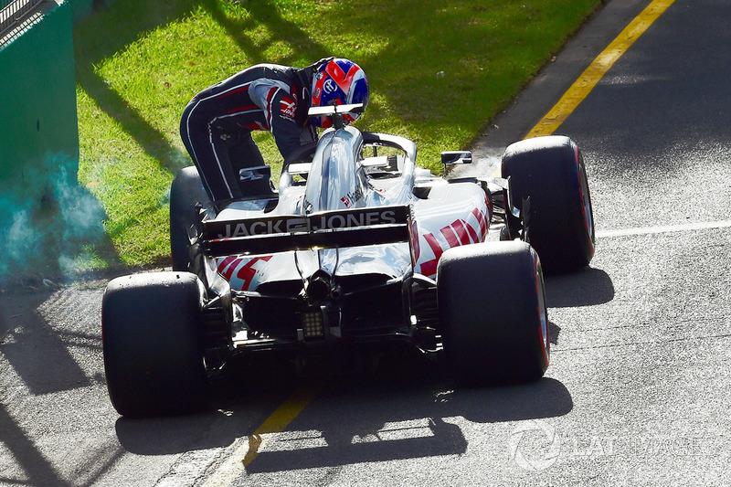 Romain Grosjean, Haas F1 Team, berhenti di trek