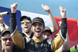 Jean-Eric Vergne, Techeetah, celebrates with his team on the podium