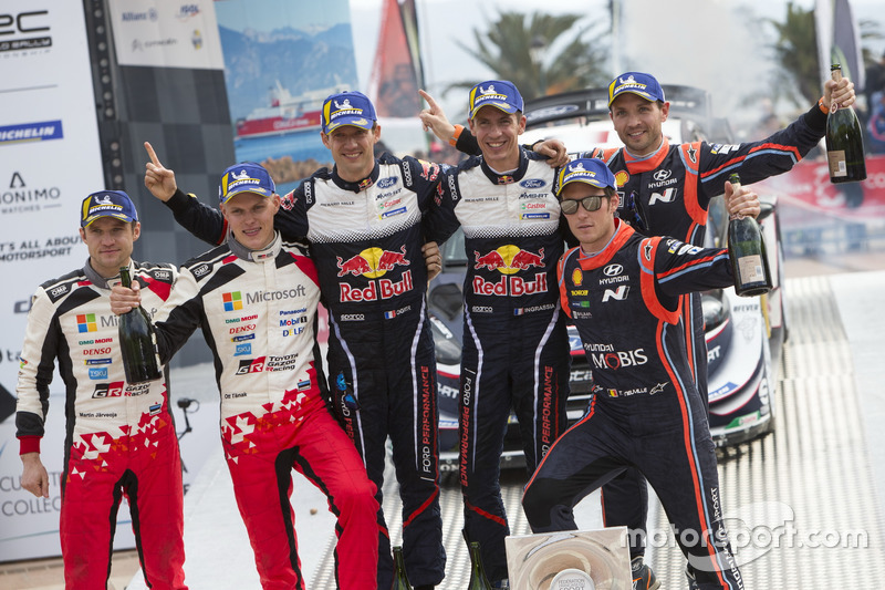 Podium: Winners Sébastien Ogier, Julien Ingrassia, M-Sport Ford WRT Ford Fiesta WRC, second place Ot