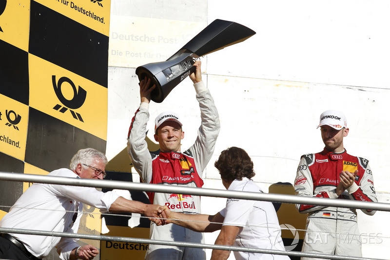 Podium Campeones: segundo, Mattias Ekström, Audi Sport Team Abt Sportsline, Audi A5 DTM