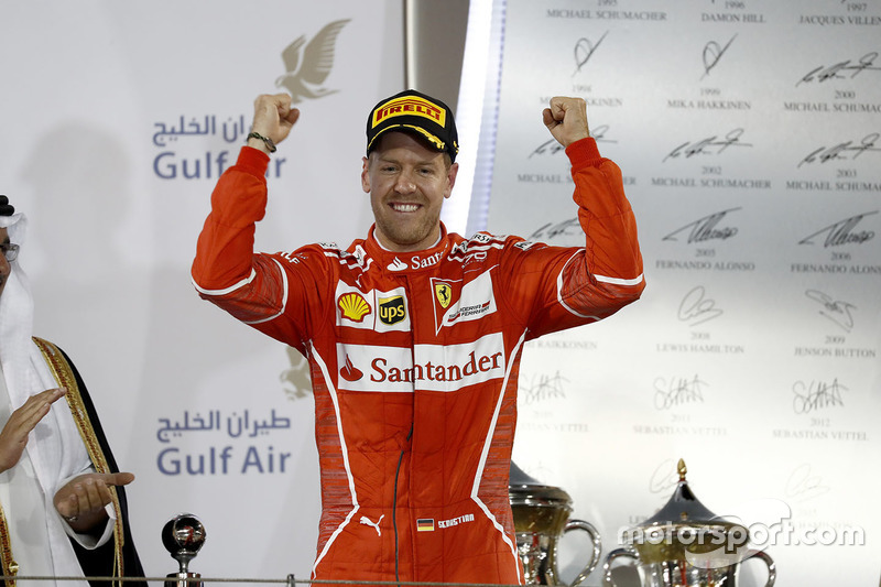 Podio: ganador Sebastian Vettel, Ferrari
