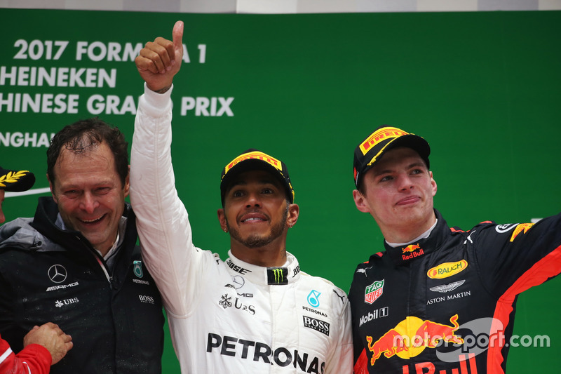 Aldo Costa, Engineering Director, Mercedes AMG, Lewis Hamilton, Mercedes AMG, and Max Verstappen, Re