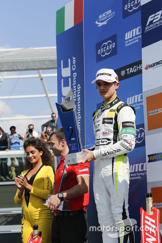 Podium: second place Lando Norris, Carlin Dallara F317 - Volkswagen