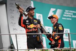 Daniel Ricciardo, Red Bull Racing and Max Verstappen, Red Bull Racing celebrate on the podium