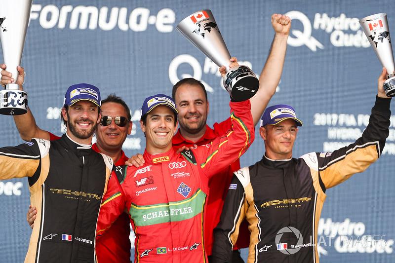 Jean-Eric Vergne, Techeetah, Lucas di Grassi, ABT Schaeffler Audi Sport, y Stéphane Sarrazin, Techeetah, celebran en el podio