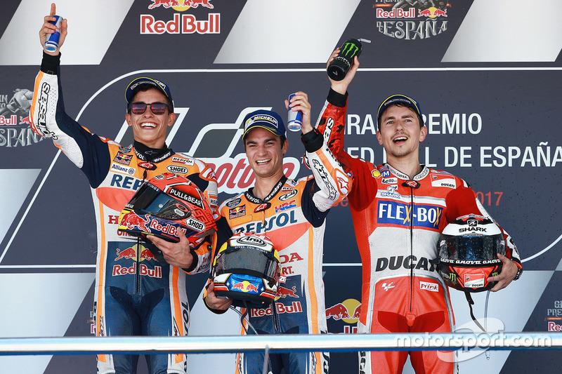 Podium : 1er Dani Pedrosa, 2e Marc Márquez, 3e Jorge Lorenzo