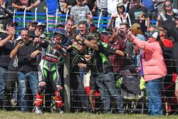 Race winner Jonathan Rea, Kawasaki Racing with fans