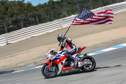 Nicky Hayden, Honda World Superbike Team, feiert Platz drei