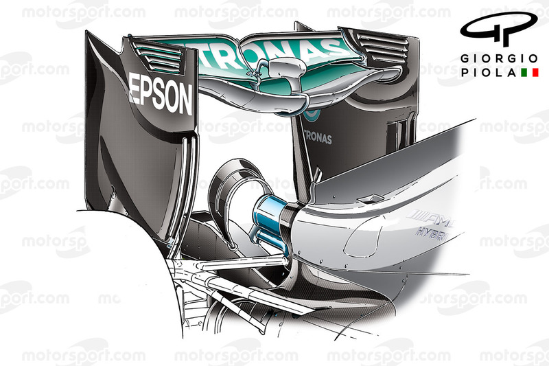 Mercedes W07 rear wing, Baku GP
