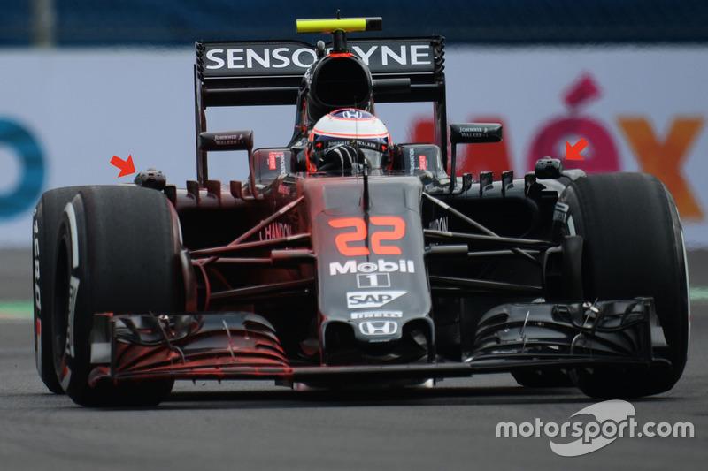 Caméras d'images thermiques sur la McLaren MP4-31 de Jenson Button