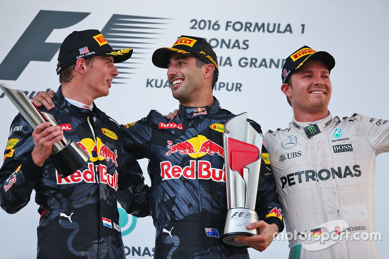 The podium (L to R): Max Verstappen, Red Bull Racing, second; Daniel Ricciardo, Red Bull Racing, rac