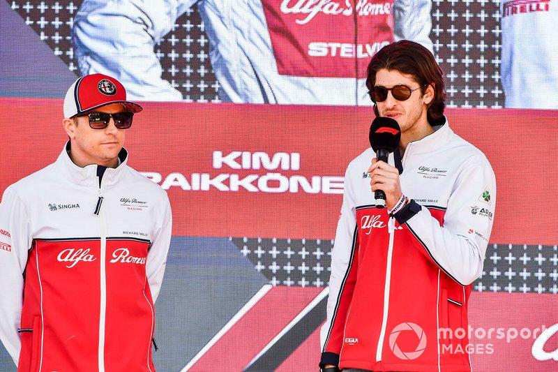 Kimi Raikkonen, Alfa Romeo Racing and Antonio Giovinazzi, Alfa Romeo Racing at the Federation Square event