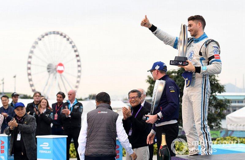 Edoardo Mortara, Venturi Formula E celebra su segundo puesto.