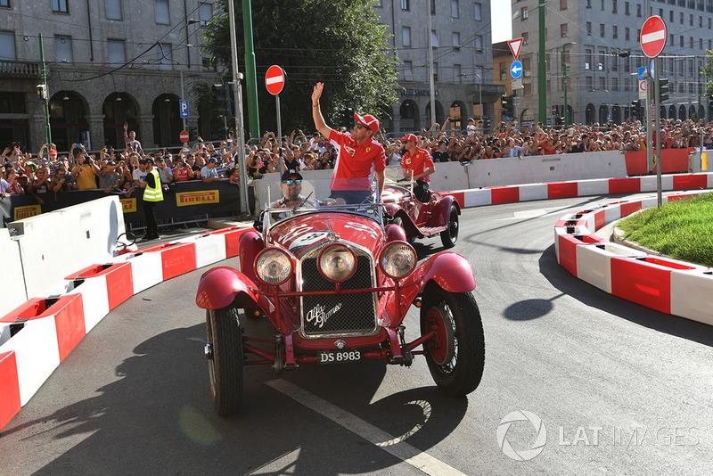 Sebastian Vettel, Ferrari in a vintage car