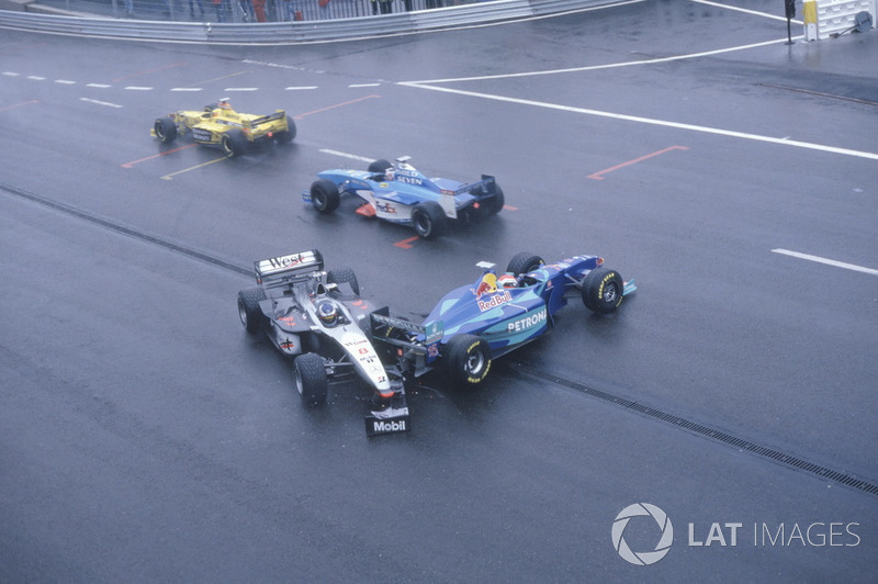 Mika Hakkinen, McLaren MP4/13, was hit by Johnny Herbert, Sauber C17 on the exit of La Source