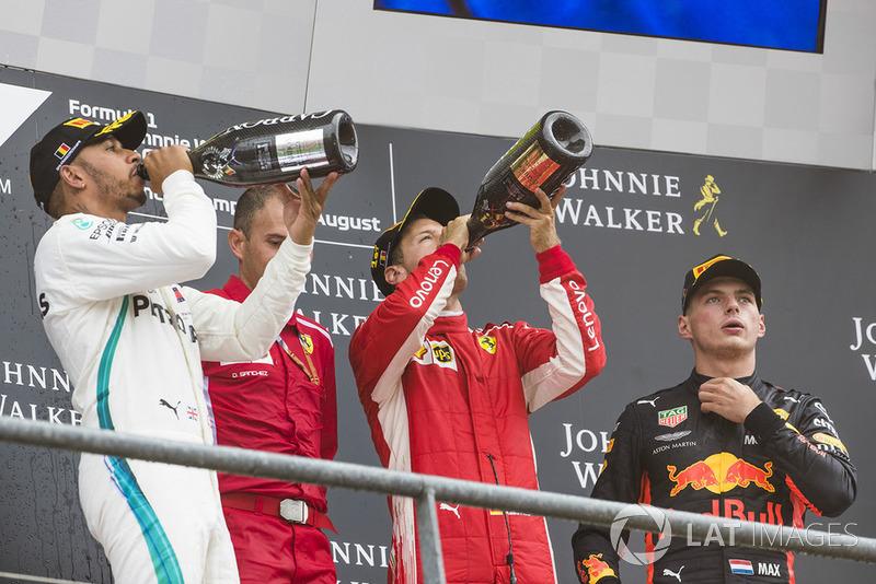 Belgique - Podium : Sebastian Vettel, Lewis Hamilton, Max Verstappen