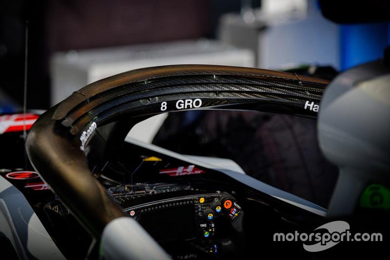 Haas F1 Team VF-18 de Romain Grosjean, detalle de halo