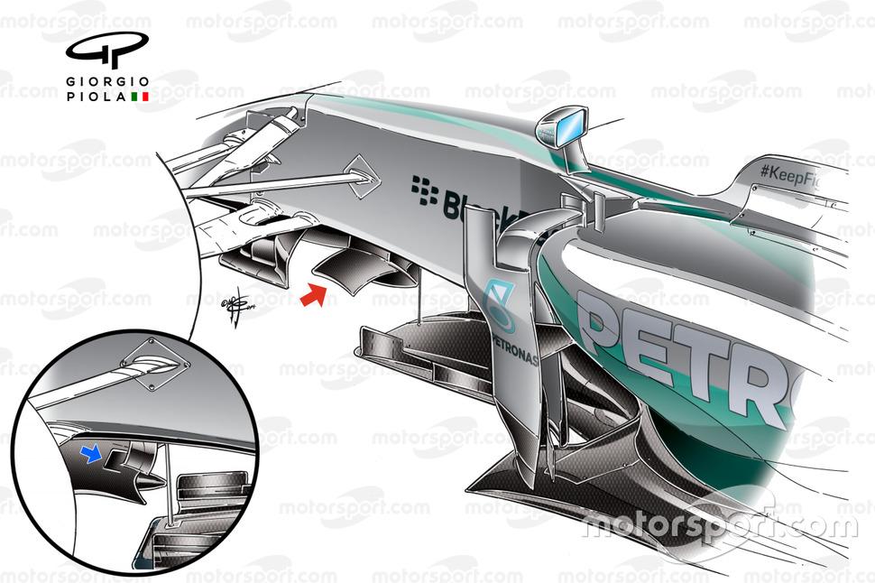 Detalle del ala del Mercedes W05.