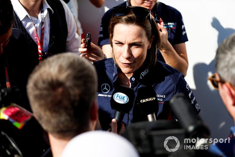 Claire Williams, Vice Team Principal, Williams Racing, parla con la stampa