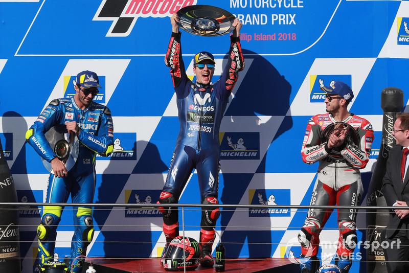 #17 GP d'Australie - Podium : Maverick Viñales, Andrea Iannone, Andrea Dovizioso