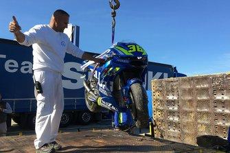Bike von Joan Mir, Team Suzuki MotoGP, nach Sturz