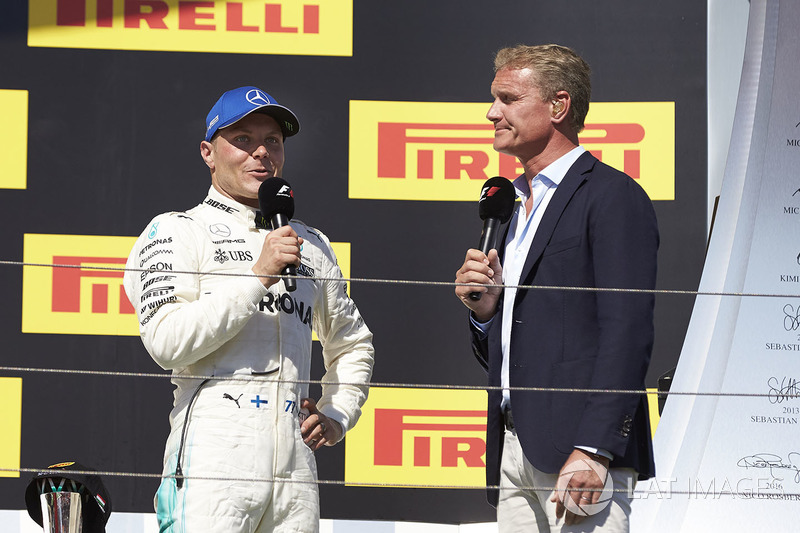 Podio: tercer lugar Valtteri Bottas, Mercedes AMG F1, David Coulthard