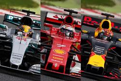Mercedes W08; Ferrari SF70H; Red Bull Racing RB13