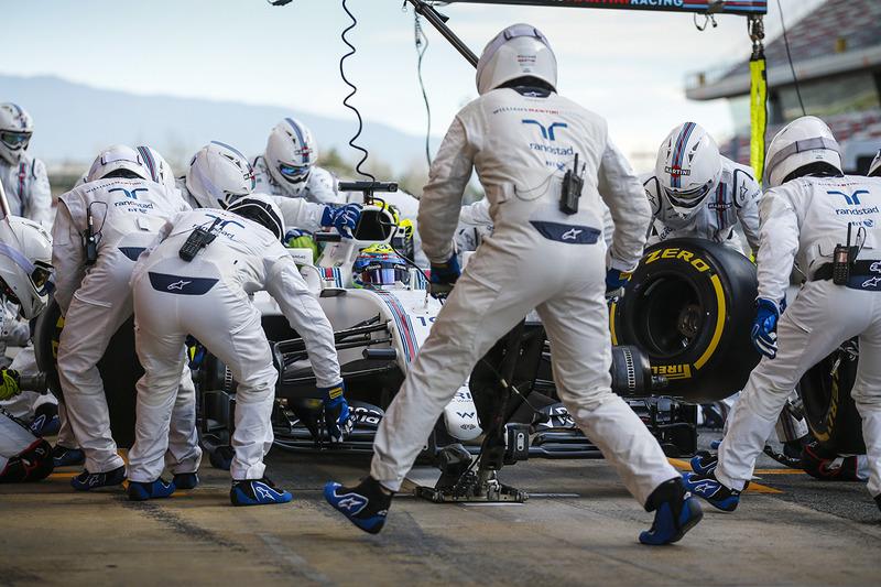 Essais d'arrêt au stand pour Felipe Massa, Williams FW40