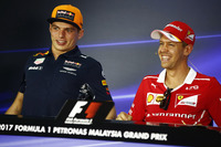 Max Verstappen, Red Bull Racing, Sebastian Vettel, Ferrari, in The FIA press conference