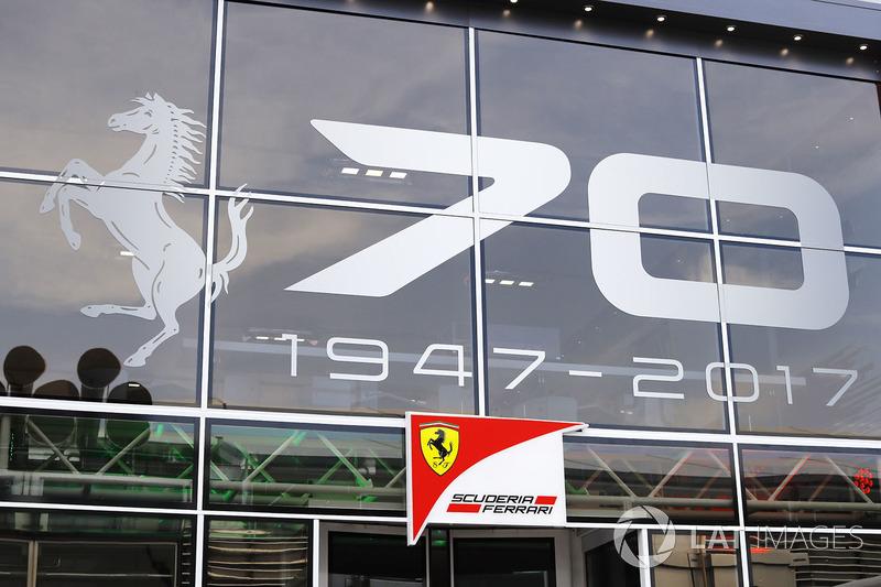 The Ferrari hospitality unit, a message celebrating 70 years