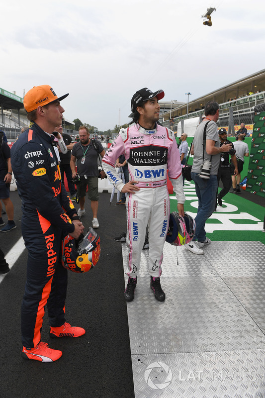 Max Verstappen, Red Bull Racing and Sergio Perez, Sahara Force India
