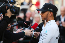 Lewis Hamilton, Mercedes AMG F1 W08 with the media