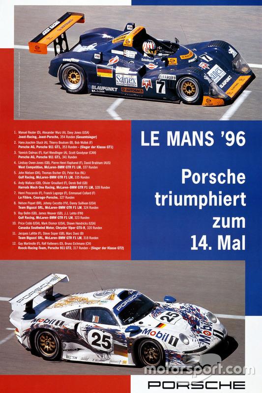 Poster: Porsche-Sieg bei den 24h Le Mans 1996