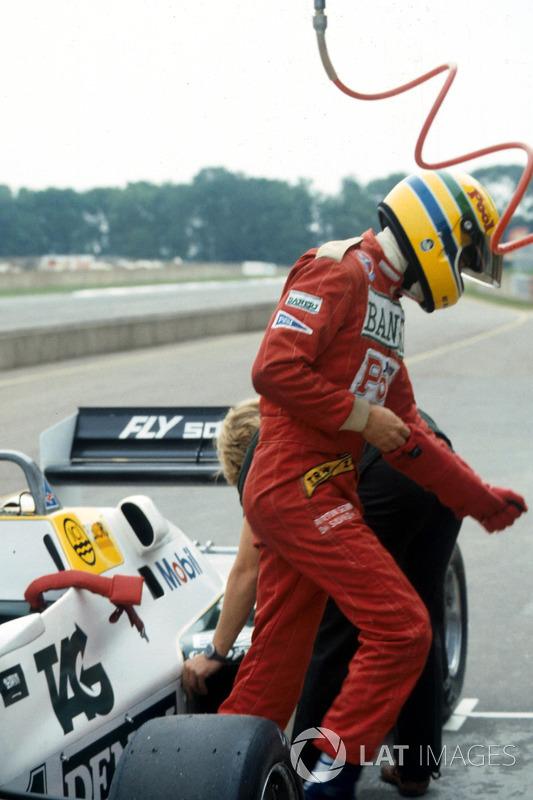 Ayrton Senna, Williams FW08C después de probarlo por primera vez