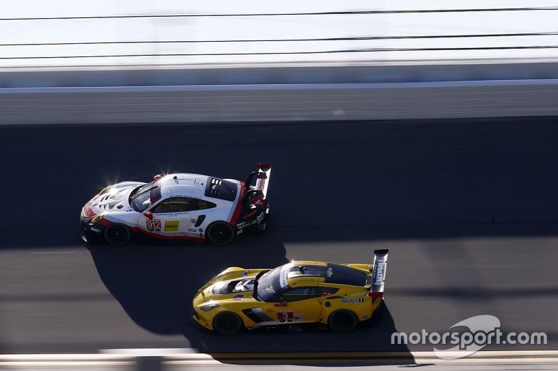 #912 Porsche Team North America Porsche 911 RSR: Kevin Estre, Laurens Vanthoor, Richard Lietz, #3 Corvette Racing Chevrolet Corvette C7.R: Antonio Garcia, Jan Magnussen, Mike Rockenfeller