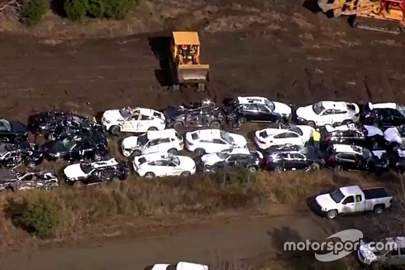 Los BMW destruidos en un accidente de tren