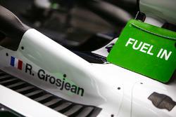 A Fuel In sign on the Romain Grosjean Haas F1 Team VF-18 Ferrari