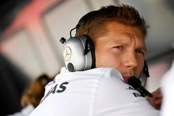 Matt Deane, Mercedes AMG F1 Chief Mechanic on the pit wall gantry