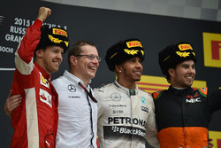 Sebastian Vettel, Ferrari, Andy Cowell, Managing Director, race winner Lewis Hamilton, Mercedes AMG