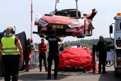 The car of René Rast, Audi Sport Team Rosberg, Audi RS 5 DTM after the crash