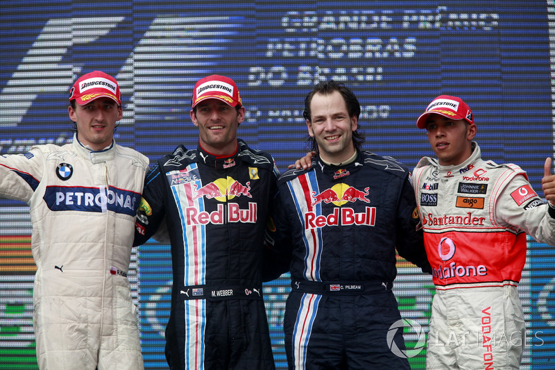 Podium: second place Robert Kubica, BMW Sauber, Race winner Mark Webber, Red Bull Racing RB5, Ciaron Pilbeam, Race Engineer, Red Bull Racing, third place Lewis Hamilton, McLaren