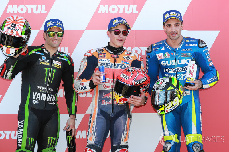 Top 3 after qualifying: Polesitter Marc Marquez, Repsol Honda Team, Johann Zarco, Monster Yamaha Tech 3, Andrea Iannone, Team Suzuki MotoGP