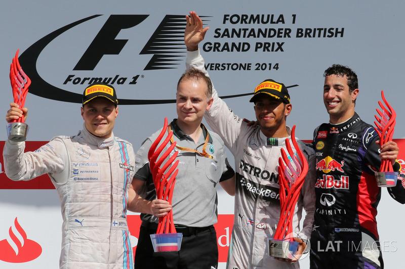 2016: 1. Lewis Hamilton, 2. Valtteri Bottas, 3. Daniel Riccardo