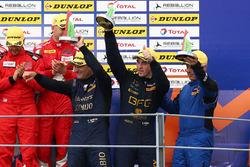Podium GTE: third place #80 Ebimotors Porsche 911 RSR: Fabio Babini, Riccardo Pera, Raymond Narac