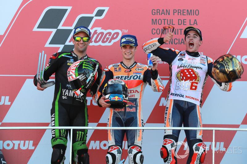 Podium : le deuxième, Johann Zarco, Monster Yamaha Tech 3, le vainqueur Dani Pedrosa, Repsol Honda Team, le troisième, Marc Marquez, Repsol Honda Team